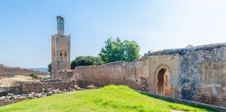 Den forntida Chellah nekropolen fördärvar med moskén och mausoleet i huvudstad Rabat, Marocko, Nordafrika för Marocko ` s fotografering för bildbyråer