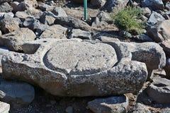 Den forntida delen av den olje- pressen finnas i nationalparken Arkivbild