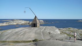 Den forntida fyren på Verdens Ende på Tjome i Norge lager videofilmer