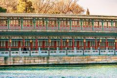 Den forntida korridoren Jade Flower Island Beihai Lake parkerar PekingChi royaltyfri bild