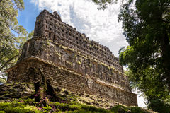 Den forntida Mayan slotten i Yaxchilan Arkivfoton