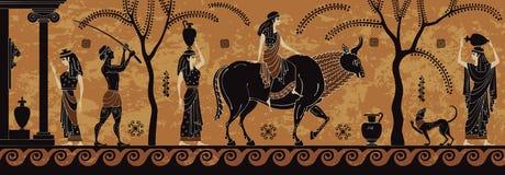 Den forntida myten sceen, det svarta diagramet krukmakeri Treft av Europa zeus stock illustrationer