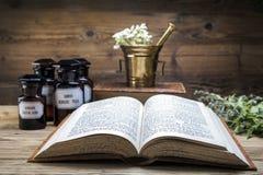 Den forntida naturliga medicinen, örterna och medicinerna Arkivfoto