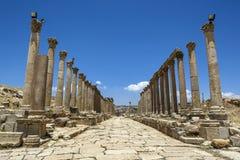 Den forntida platsen av Jarash i Jordanien Arkivbilder