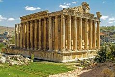 Den forntida Roman Temple av Baccdhus - gud av vin - på Baalbek i Libanon arkivfoto