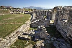 Den forntida romaren fördärvar nära staden som delas i Kroatien Arkivbild