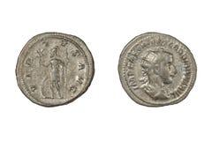 Den forntida romaren försilvrar denariusen av Gordian III royaltyfri foto