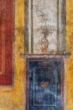 Den forntida romerska freskomålningen från fördärvar i Pompeii Arkivfoton