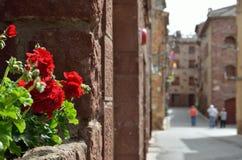 Den forntida spanska röda staden Prades Royaltyfri Bild