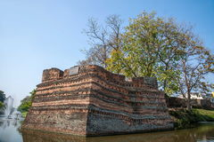 Den forntida staden av Chiang Mai, Thailand forntida vägg Arkivbild