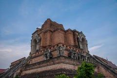 Den forntida staden av Chiang Mai, Thailand Wat Chedi Luang & x28; Wat Chedi Luang & x29; huvudsaklig stupa Fotografering för Bildbyråer