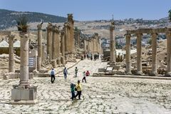 Den forntida staden av Jarash i Jordanien Royaltyfria Bilder