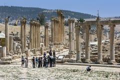 Den forntida staden av Jarash i Jordanien Arkivfoto