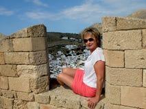 Den forntida staden av Lindos Arkivfoto