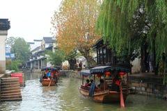 Den forntida staden av Nanxun på hösten Arkivfoto