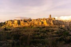 Den forntida staden av Pitigliano arkivfoto