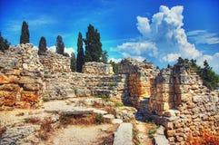 den forntida staden fördärvar Landskap Bakgrund Royaltyfri Foto