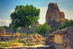 den forntida staden fördärvar Landskap Bakgrund Fotografering för Bildbyråer