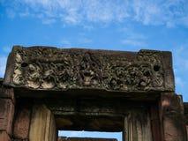 Den forntida stenen för en khmerkonstsand som snider historiska Phimai, parkerar Arkivbilder