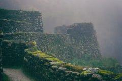 Den forntida stenen fördärvar i mist på Inca Trail peru härligt dimensionellt diagram illustration södra tre för 3d Amerika mycke fotografering för bildbyråer