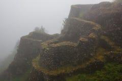 Den forntida stenen fördärvar i mist på Inca Trail peru härligt dimensionellt diagram illustration södra tre för 3d Amerika mycke royaltyfri bild