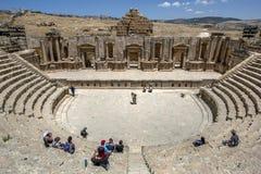 Den forntida teatern fördärvar på Jarash i Jordanien Fotografering för Bildbyråer
