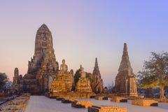 Den forntida templet i historiska Ayuthaya parkerar, Thailand Arkivfoto