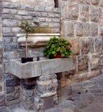 Den forntida väggen med utsatta tegelstenar och marmor tankar innehålla vaser med växter royaltyfri foto