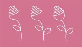 Den fortlöpande linjen steg med sidor Abstrakt modern garnering, logo också vektor för coreldrawillustration En linje teckning av royaltyfri illustrationer
