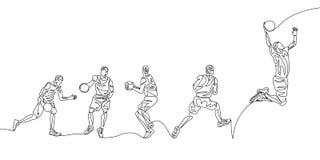 Den fortl?pande linjen basketspelaren som g?r stegvis, sm?ller i doppar vektor illustrationer