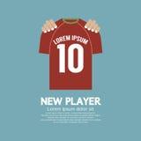 Den fotboll-/fotbollskjortan ett nytt spelarekontraktskrivningbegrepp Royaltyfria Bilder