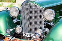 Den främre delen av Packard för retro bil en konvertibel Sedan 1934 år Fotografering för Bildbyråer