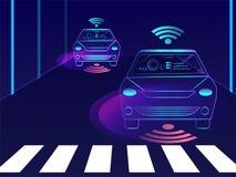 Den främre sikten av den automatiserade bilen med avkännareteknologi på stad landar royaltyfri illustrationer