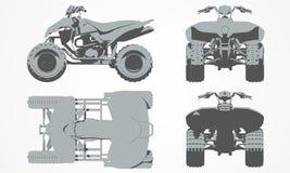 Den framdel-, överkant-, baksida- och sidokvadraten cyklar projektion Royaltyfri Foto