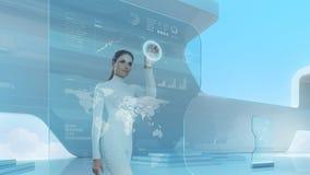 Den framtida teknologipekskärmen har kontakt. Fotografering för Bildbyråer