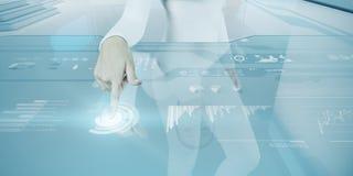 Den framtida teknologipekskärmen har kontakt. Royaltyfri Bild