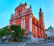 Den Franciscan kyrkan av förklaringen ljubljana slovenia royaltyfri bild