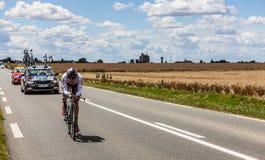 Den franska cyklisten Riblon Christoph Arkivbild
