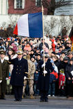 den franska guardhedermilitären ståtar royaltyfri fotografi