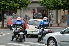 Den franska polisen på motorcyklar Arkivbild