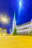 Den Fraumunster (kvinnadomkyrka) kyrkan, Zurich Royaltyfria Foton