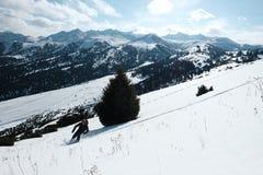 Den Freerider skidåkaren stiger ned från berget i ljuset av morgonsolen royaltyfria foton