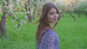 Den frestande unga kvinnan som går i en äpplefruktträdgård blommar på våren, vit r arkivfilmer
