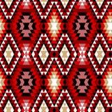 Den färgrika röda vit- och svartaztecen smyckar den geometriska etniska sömlösa modellen, vektor Royaltyfri Foto