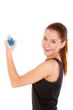 den fria konditionen weights ut kvinnaworking Fotografering för Bildbyråer