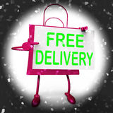Den fria leveransen på shoppingpåse visar ingen laddning för att leverera Arkivfoto