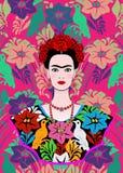 Den Frida Kahlo vektorståenden, den unga härliga mexikanska kvinnan med en traditionell frisyr, mexikan tillverkar smycken och kl vektor illustrationer