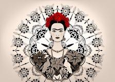 Den Frida Kahlo vektorståenden, den unga härliga mexikanska kvinnan med en traditionell frisyr, mexikan tillverkar smycken och kl stock illustrationer