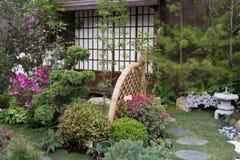Den fridsamma zenen vaggar trädgården med papyrusväxten Arkivfoton