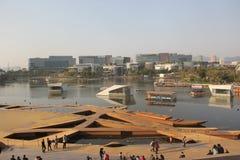Den frilufts- teatern för vattenshow i shenzhen glädjekust Royaltyfri Fotografi